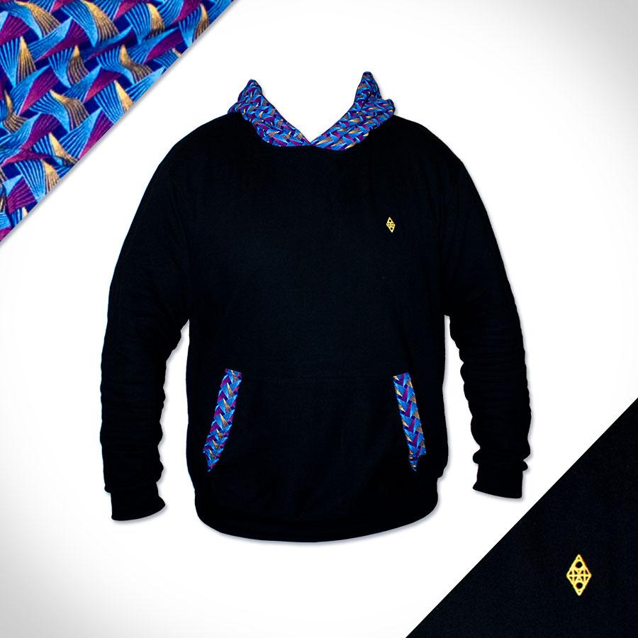 Afrika Hoodie Weave (schwarz-royal)